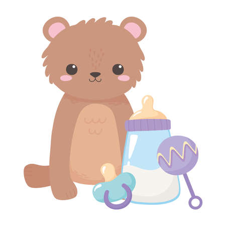 baby shower, teddy bear with pacifier rattle and milk bottle, celebration welcome newborn vector illustration