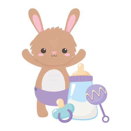 baby shower, little rabbit with milk bottle rattle and pacifier, celebration welcome newborn vector illustration