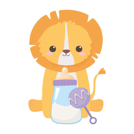 baby shower, little lion sitting with rattle and bottle milk, celebration welcome newborn vector illustration