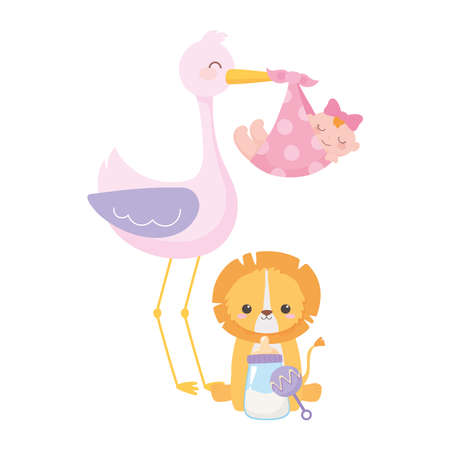 baby shower, stork with baby girl and little lion sitting with rattle bottle milk, celebration welcome newborn vector illustration