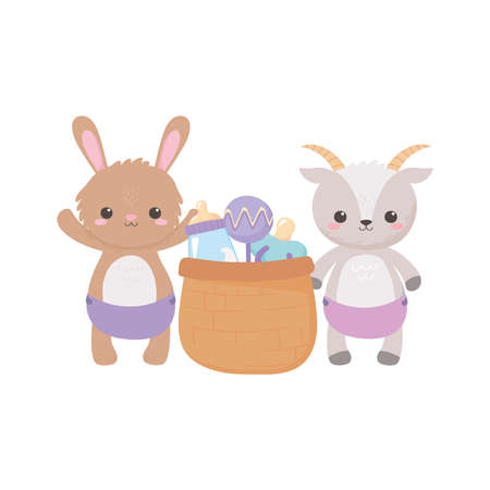 baby shower, cute bunny goat with basket rattle pacifier and bottle milk, celebration welcome newborn vector illustration