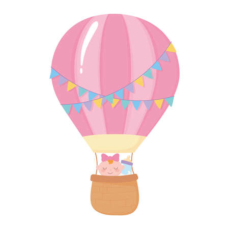 baby shower, cute baby girl in air balloon with bottle milk, celebration welcome newborn vector illustration