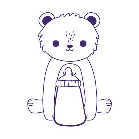 baby shower, cute little bear with milk bottle, celebration welcome newborn vector illustration line style
