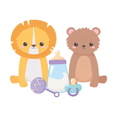baby shower, little lion bear with pacifier rattle cartoon, celebration welcome newborn vector illustration