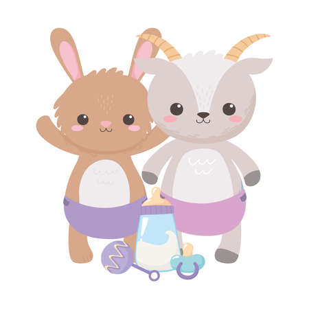 baby shower, cute rabbit goat with pacifier rattle and bottle milk, celebration welcome newborn vector illustration