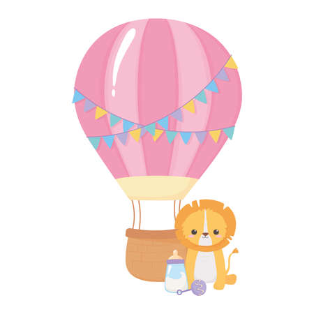 baby shower, little lion milk bottle rattle and air balloon, celebration welcome newborn vector illustration