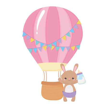 baby shower, cute bunny with bottle milk and air balloon, celebration welcome newborn vector illustration Иллюстрация