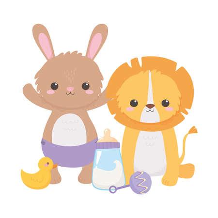 baby shower, little lion rabbit with rattle duck and milk bottle, celebration welcome newborn vector illustration