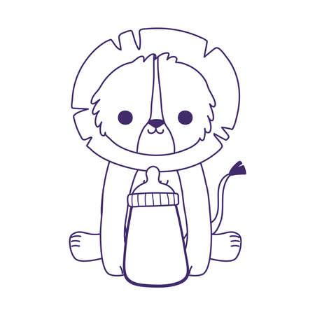 baby shower, cute little lion animal with milk bottle, celebration welcome newborn vector illustration line style Иллюстрация