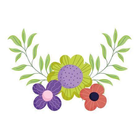 flowers foliage nature botanical isolated icon white background vector and illustration