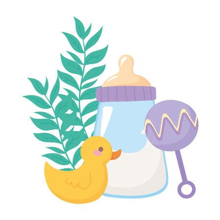 baby shower, duck rattle and bottle milk, celebration welcome newborn vector illustration