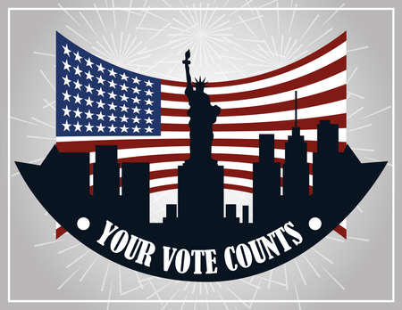 your vote counts american city flag national, politics voting and elections USA, make it count vector illustration