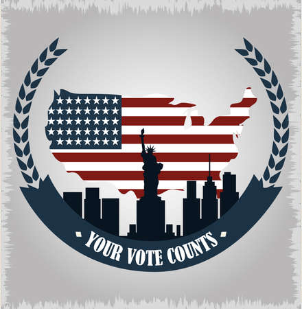 american flag in map country and NY city, politics voting and elections USA, make it count vector illustration