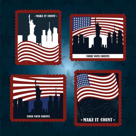 set post stamp american flags city NY your vote counts, politics voting and elections USA, make it count vector illustration Vektoros illusztráció