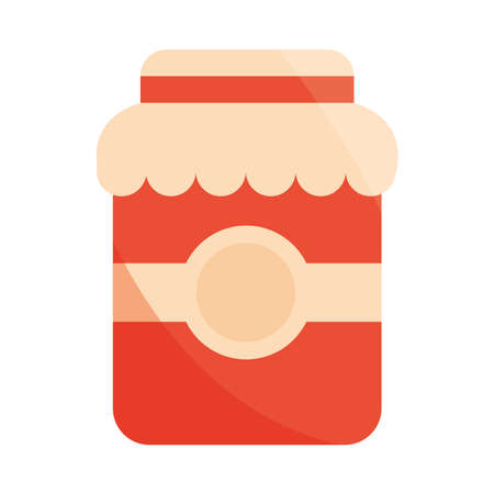 jar jam sweet food preserve fruit vector illustration flat icon with shadow