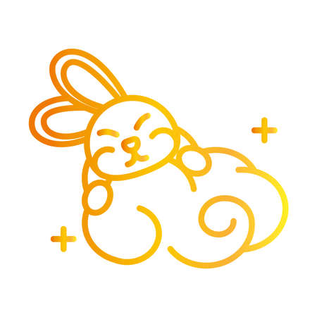 happy mid autumn festival, cute bunny cloud cartoon, gradient style icon vector illustration