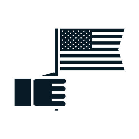 United States elections, hand with american flag, political election campaign silhouette icon design vector illustration Ilustración de vector