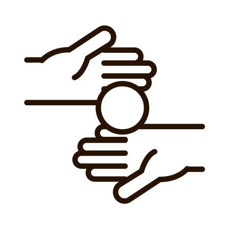 hand with money giving love charity donation line icon vector illustration