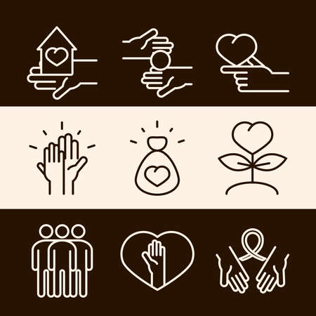 community together support charity donation and love line icons set vector illustration