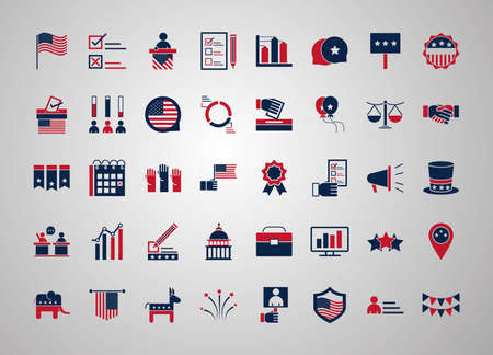 United States elections, campaign collection politics symbol with elements flat style vector illustration