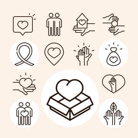 community together charity donation and love line icons collection vector illustration