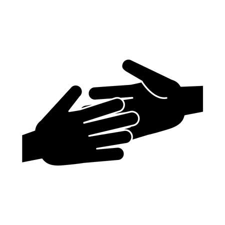 together, hands team unity pictogram, silhouette style vector illustration 矢量图像