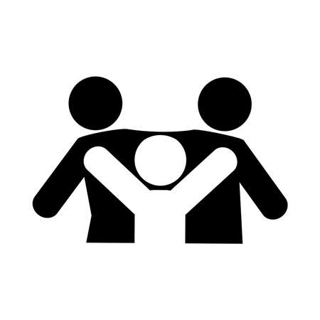 together, people community relationship friendly pictogram silhouette style vector illustration