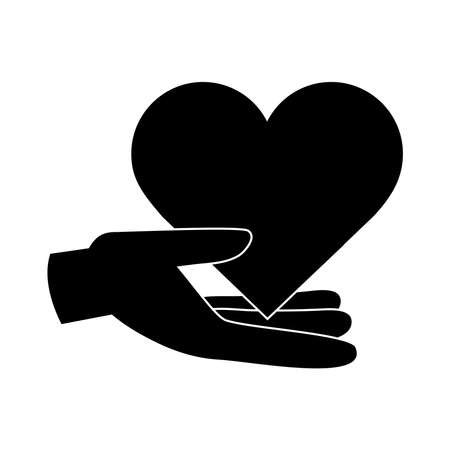 together, hand with heart love friendly romantic pictogram silhouette style vector illustration