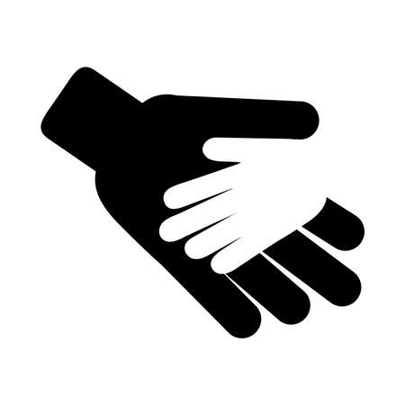 hands support charity together pictogram silhouette style icon vector illustration Stock Illustratie