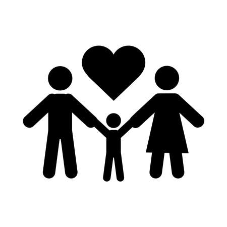 together, family holding hands love relationship pictogram silhouette style vector illustration