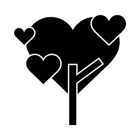 tree shaped heart love romatic pictogram silhouette style icon vector illustration Stock Illustratie