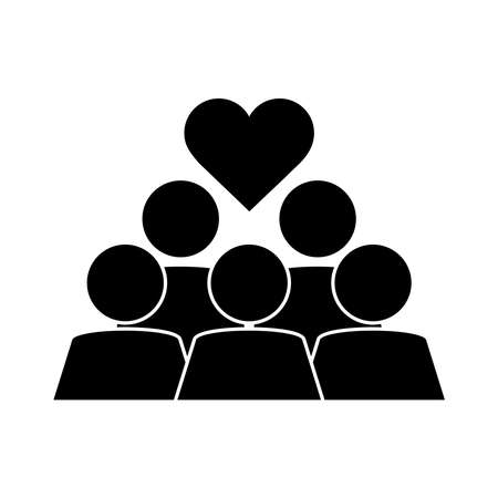 together, people group teamwork pictogram, silhouette style vector illustration