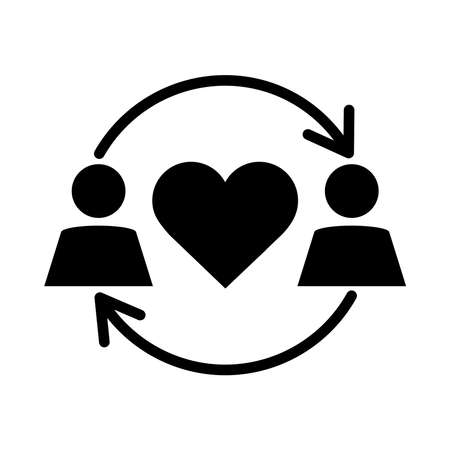 together, couple relationship romantic pictogram silhouette style vector illustration