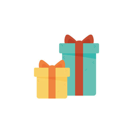 two gift boxes surprise celebration isolated icon style vector illustration Stock Illustratie