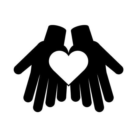 together, hands with heart friendly social pictogram silhouette style vector illustration