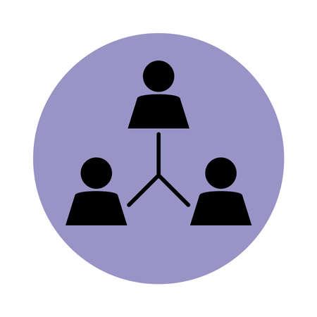together, company organization teamwork pictogram, block silhouette icon vector illustration