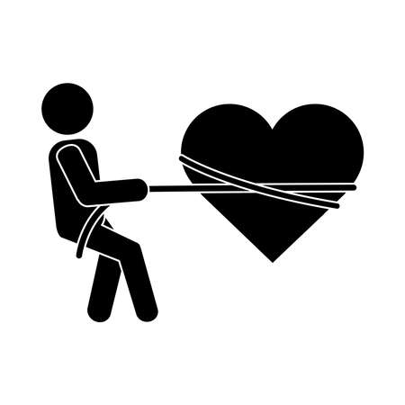 together, person tied heart with rope romantic relationship pictogram silhouette style vector illustration Stock Illustratie
