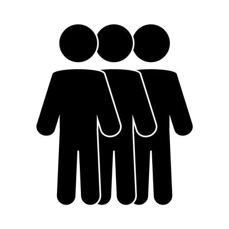 together, people teamwork society pictogram, silhouette style vector illustration