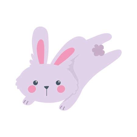 jumping rabbit animal cartoon isolated icon style vector illustration