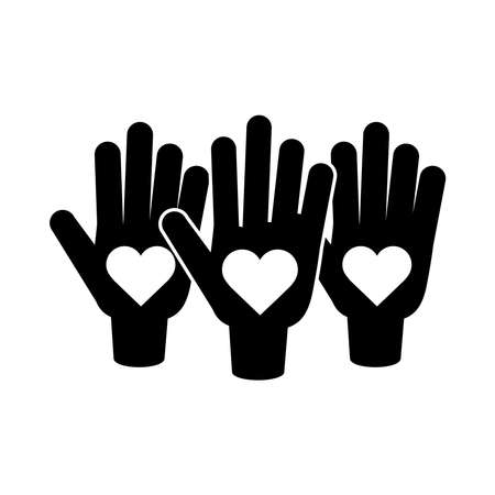 together, hands showing hearts in palms relation friendly pictogram silhouette style vector illustration 向量圖像