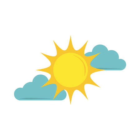 sun clouds sky flat icon style vector illustration