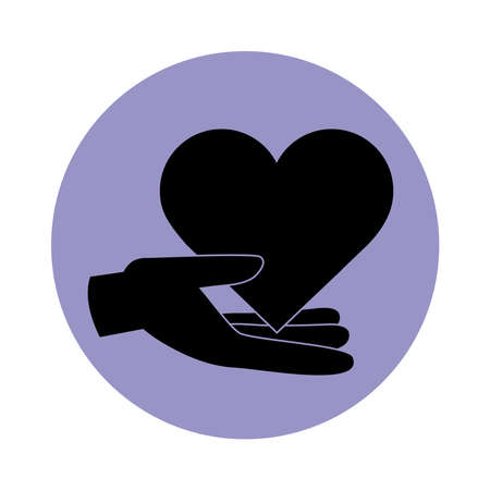 together, hand with heart love friendly romantic pictogram block silhouette icon vector illustration