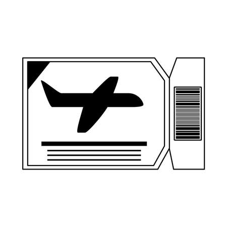 summer vacation travel, airline boarding pass ticket line icon style vector illustration