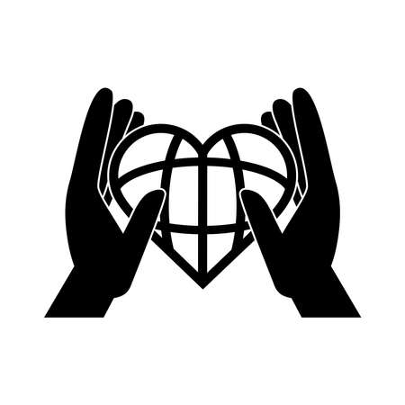 together, hands world shaped heart, support friendly pictogram silhouette style vector illustration 向量圖像