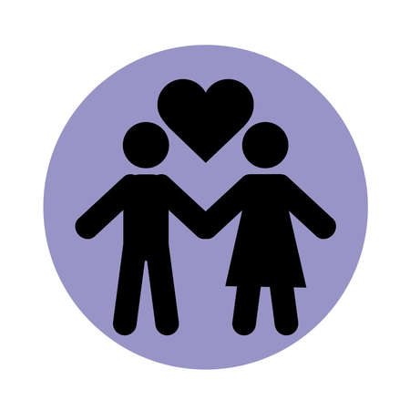together, relationship friendly romantic pictogram, couple holds hands heart love block silhouette icon vector illustration