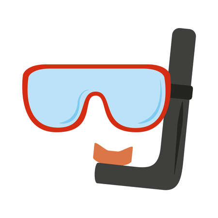summer vacation travel, scuba mask and snorkel flat icon style vector illustration