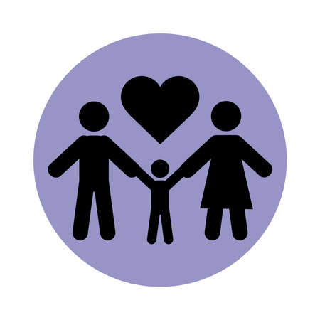 together, family holding hands love relationship pictogram block silhouette icon vector illustration