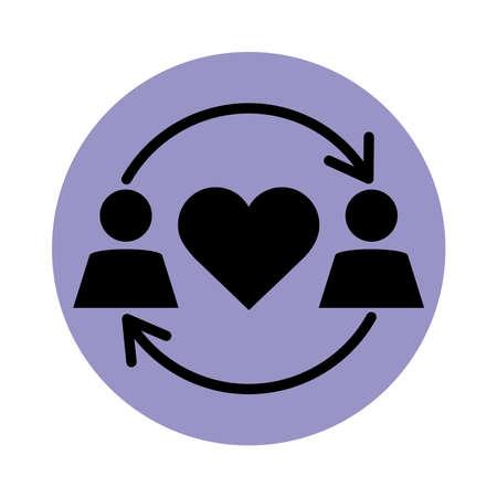 together, couple relationship romantic pictogram block silhouette icon vector illustration Vecteurs