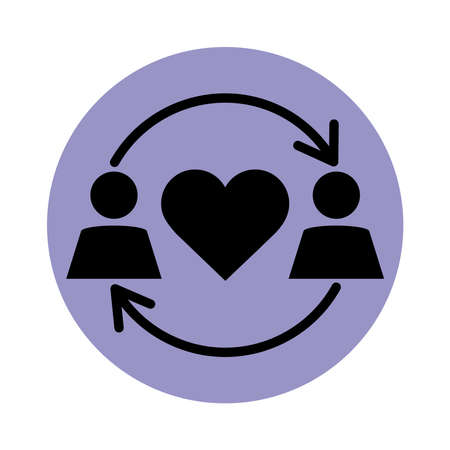 together, couple relationship romantic pictogram block silhouette icon vector illustration