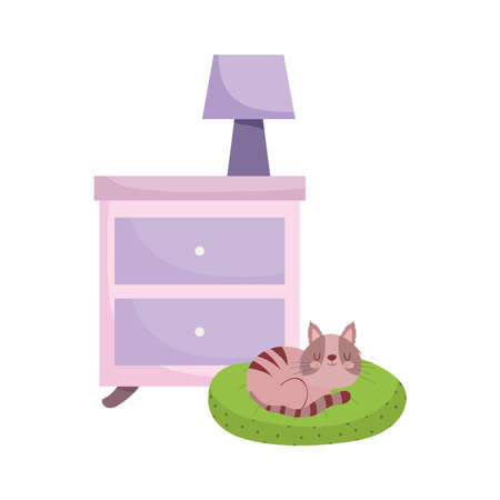 side table with lamp and cat sleeping in cushion isolated design white background vector illustration